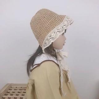 Mũ Đi Biển Phối Ren Hoa Cho Bé Gái