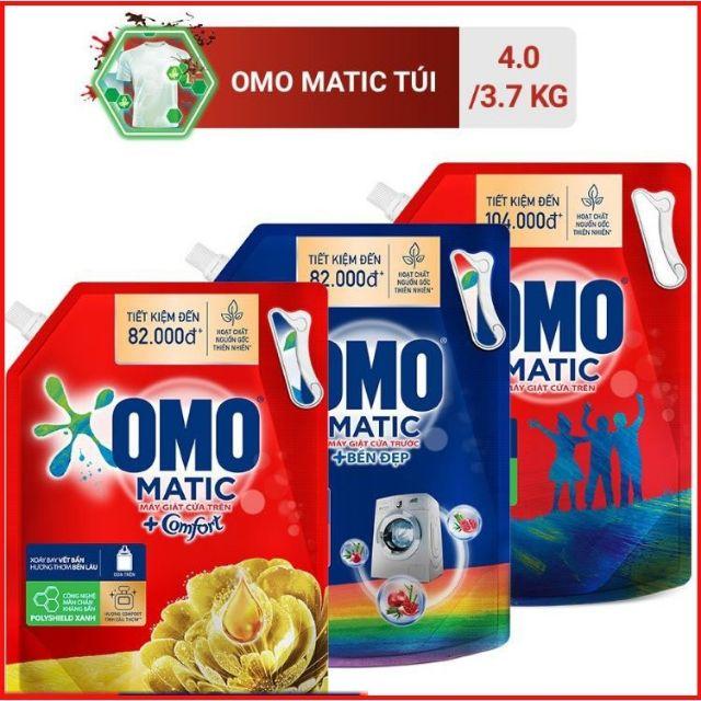 OMO NƯỚC GIẶT 4KG,3.7kg CHUYÊN DÙNG cho máy cửa trên cửa trước ( Túi xanh),Omo comfort