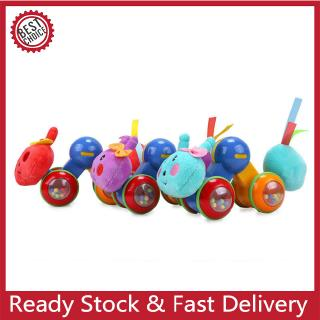 Baby Ring Doll Press Car Plush Roller Toy Caterpillar Toy Car