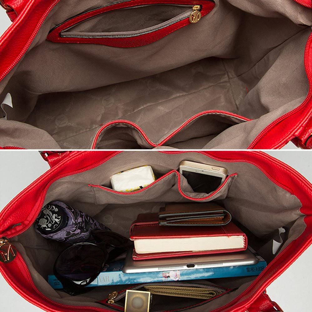 Set túi xách cỡ lớn + Túi đeo chéo + Ví nhỏ bằng da PU cho nữ