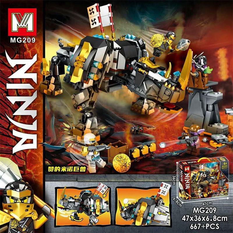 Lắp ráp xếp hình non Lego Ninjago 71719 , mg209 : Khủng Long Giác Đấu Mino Của Zane 667+ mảnh