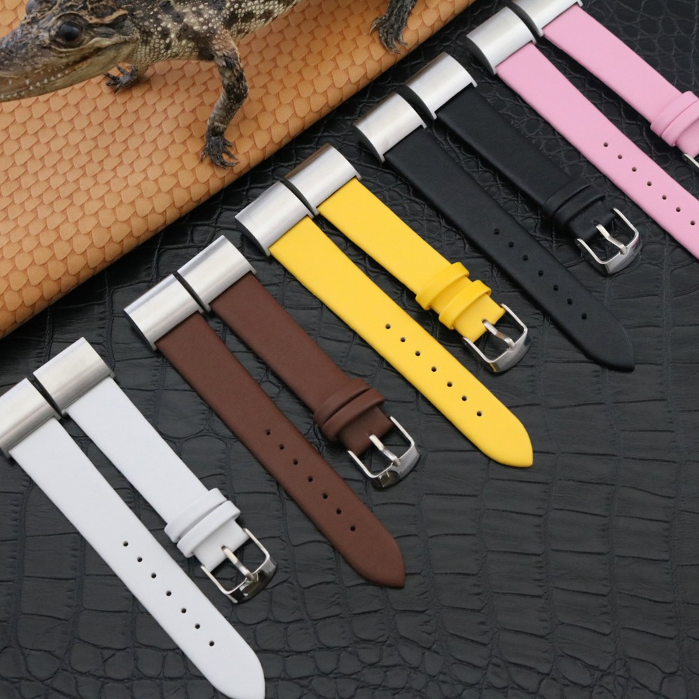 Classic Leather Wristband With Metal Connectors For Fitbit Charge 2