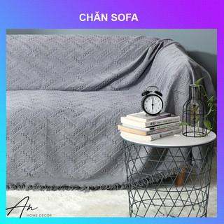 Khăn chăn mền phủ sofa văn phòng sợi dệt 130x180 và 180x230cm trắng xám thumbnail