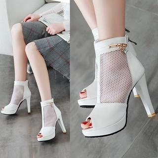 Giày Sandal Cao Gót Hở Mũi Màu Trắng Đen Thời Trang