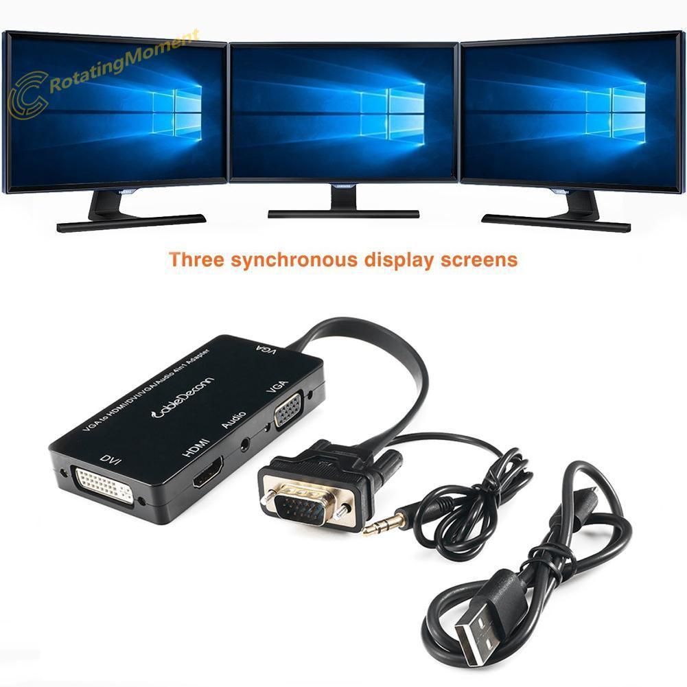 3 in 1 Mini DP HDMI DVI VGA DisplayPort Cable Adapter Audio Video Converter