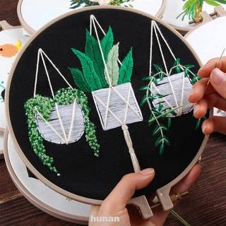 Home Decoration DIY Cloth Beginner With Plants Pattern Embroidery Starter Kit