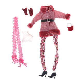 MT Fashion Winter Outfit Coat Pants Scarf Boots Gloves Handbag Dollhouse Accessories Clothes For Doll Toys Gift NY