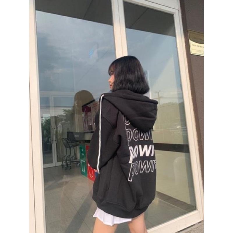 Áo khoác nữ form rộng có dây kéo 4YOUNG in chữ POWR