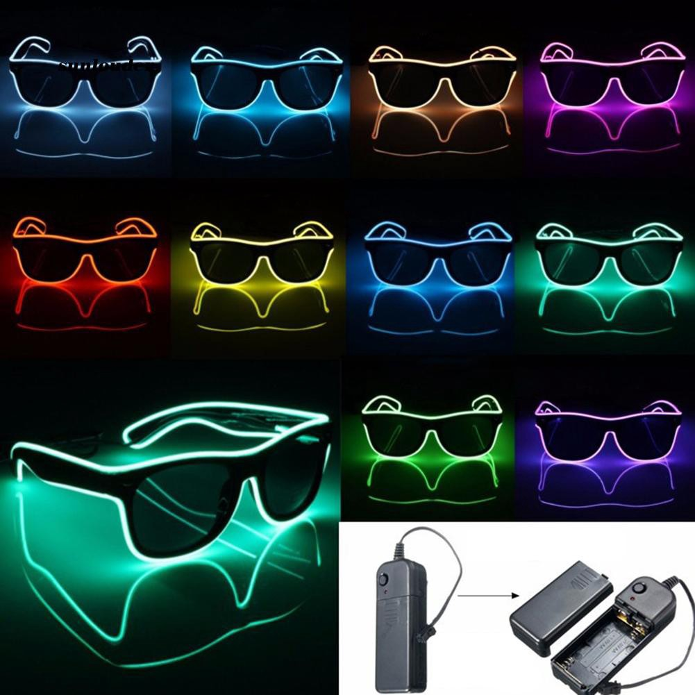 SNLD_LED EL Wire Glasses Light Up Glow Sunglasses Eyewear Shades for Nightclub Party