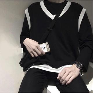 Áo gile unisex form rộng nam nữ đen viền trắng
