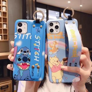 Ốp điện thoại kèm giá đỡ và dây đeo cổ tay hình stitch gấu pooh dành cho Iphone 11