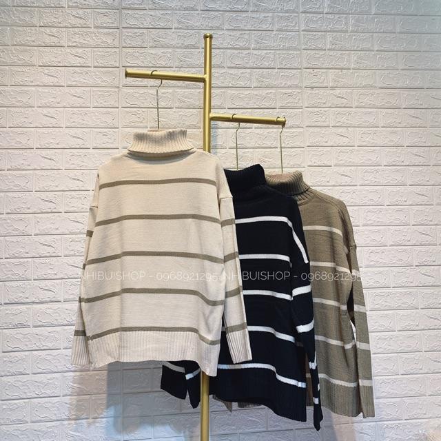 Áo len kẻ cao cổ 3 màu (946)