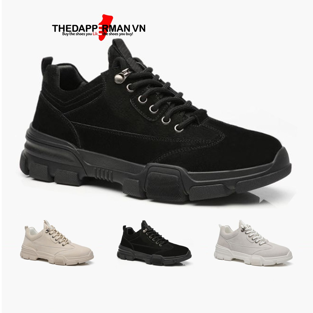 Giày thể thao nam THEDAPPERMAN D101 chất liệu da lộn chống nước, đế cao su non ma sát tốt, tăng chiều cao, màu đen
