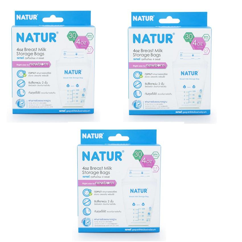 Bộ 3 hộp túi trữ sữa Thái Lan Natur 120ml (30 túi/ hộp)
