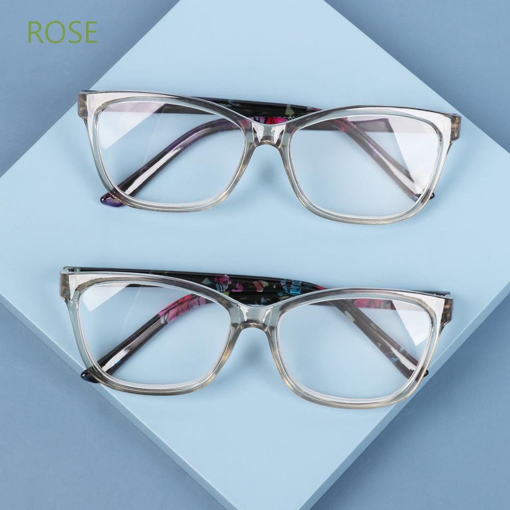 ROSE Portable Presbyopia Eyeglasses Radiation Protection Eyewear Floral Reading Glasses With Diopters +1.0~+4.0 Ultralight HD Resin Lens PC Frame Anti Glare Spectacle Frames