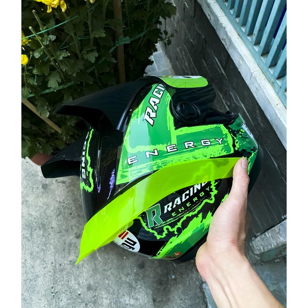 Nón AGU Racing xanh lá tặng kèm sừng rùa và đuôi gió + túi đựng nón