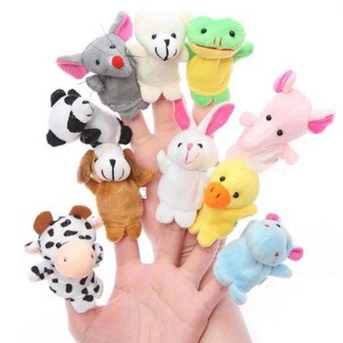 JQAIQ 10pcs Finger Puppets Cloth Plush Doll Baby Educational Hand Cartoon Animal Toys