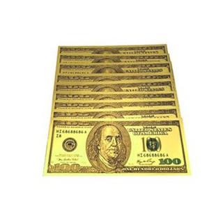 Bộ 3 tiền usd mạ vàng 100 đô la