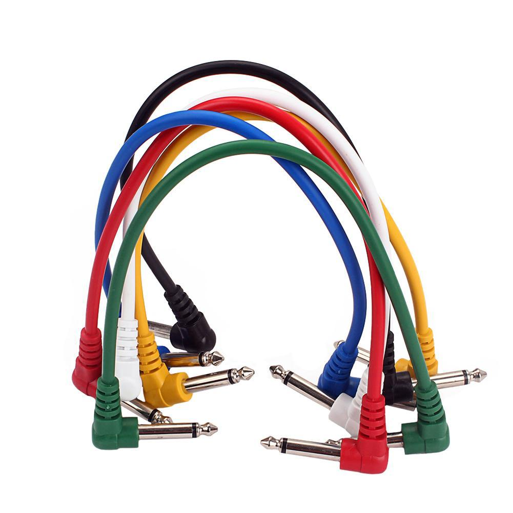 6pcs/set Angled Plug Audio Cable Leads Patch Cables For Guitar Effect Pedal