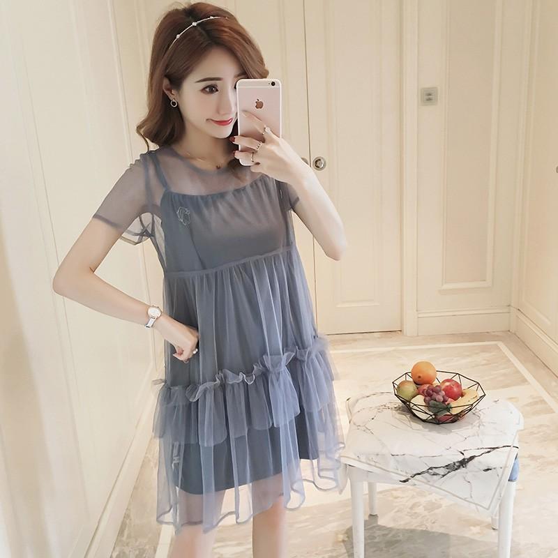 Đầm bầu , váy bầu phối ren hiện đại thích hợp cho dạo pố mặc nhà