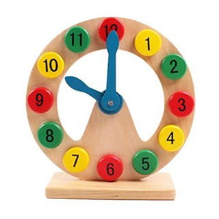 Deercon Wooden toy gift Montessori Early Learning wood clock digital cognitive