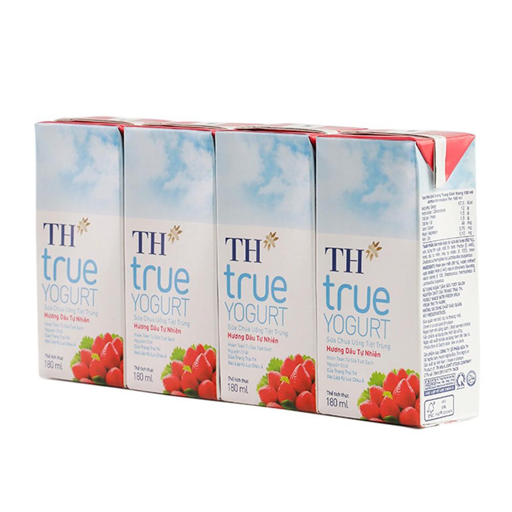 Lốc Sữa Chua Uống Tiệt Trùng Hương Dâu Tự nhiên TH True Yogurt 180mlx4
