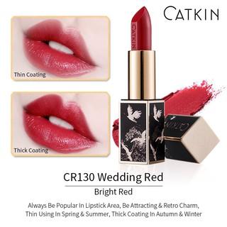 Son thỏi dưỡng ẩm CATKIN, màu đỏ tươi, đỏ cô dâu, wedding red, chất son mịn, có dưỡng, nguyên seal, mã CR130