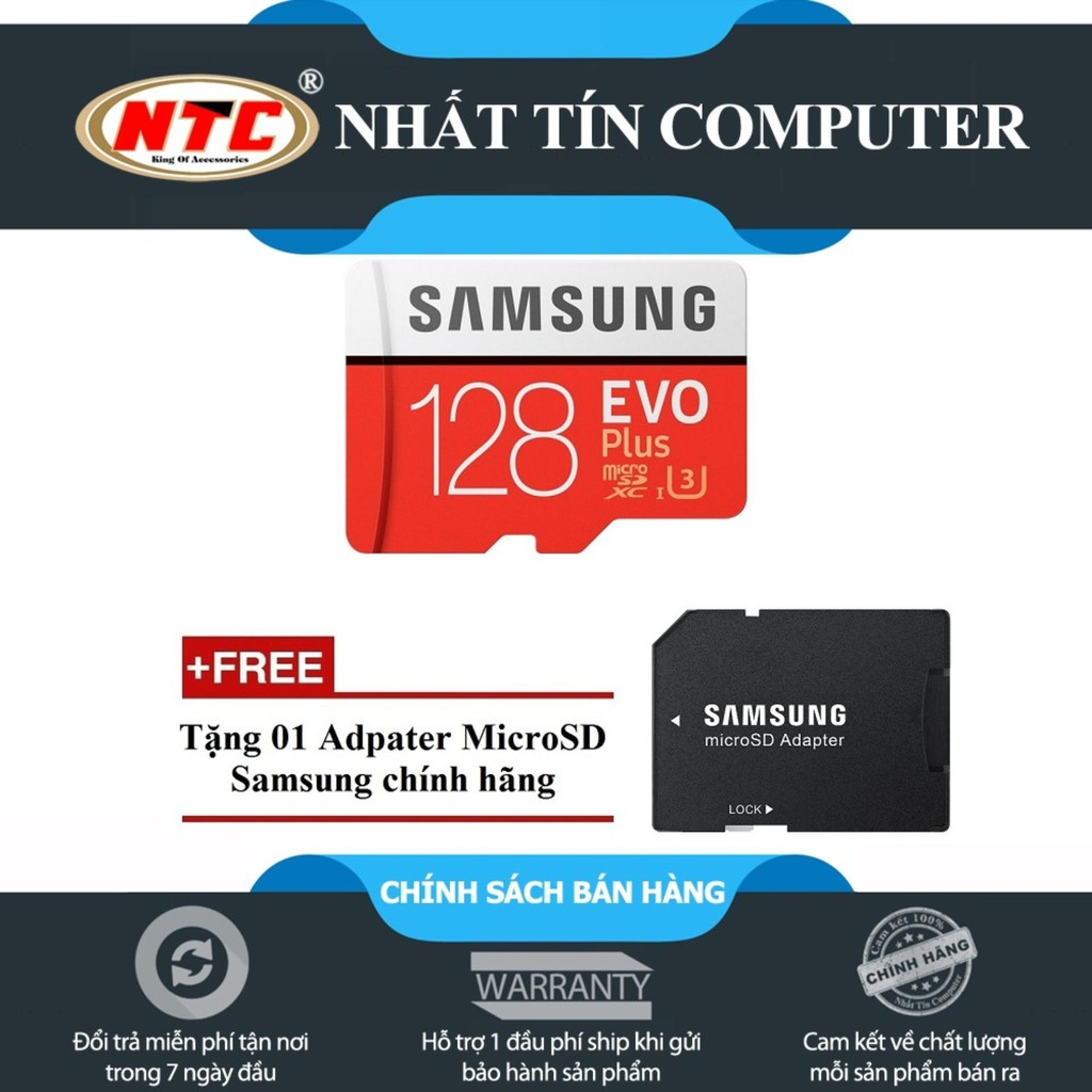 [Freeship toàn quốc từ 50k] Thẻ nhớ MicroSDXC Samsung Evo Plus 128GB UHS-I U3 100MB/s (Đỏ) + Tặng Adapter Sa