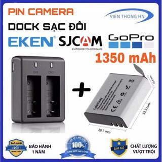 Combo Pin 1350 mAh + Dock Sạc Đôi Cho Mọi Camera Hành Trình Eken H9r, SJCAM 4000, Amkov, Camera 4k thumbnail