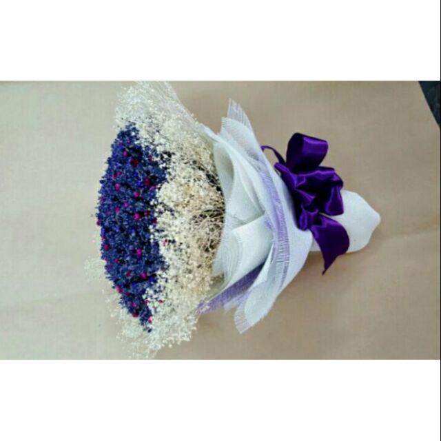 Bó tròn hoa cưới Lavender mix baby breath