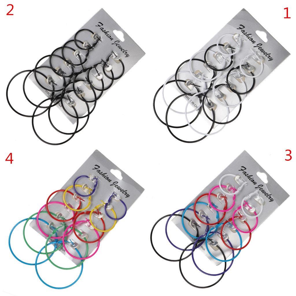 Set 6 đôi hoa tai kiểu tròn đơn giản từ nhỏ đến lớn độc đáo cho nữ