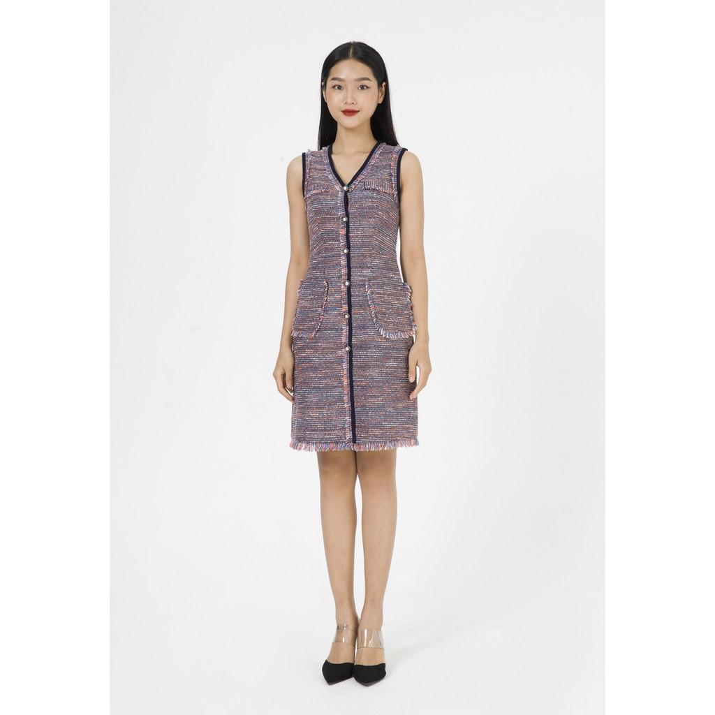 Coupon sản phẩm De Leah - Đầm Ôm A Tweed Kẹp Tua Rua - Thời trang thiết kế