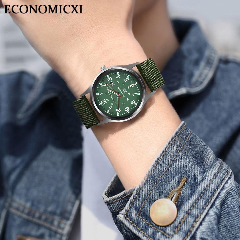(SIÊU PHẨM) Đồng Hồ Nam ECONOMICXI E9811 giản dị cổ điển Thạch Anh Dây Vải Dù Cao Cấp