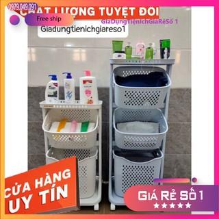 [Hàng chính hãng] Kệ nhựa plastic cao cấp 3 tầng đa năng có bánh xe đựng đồ cho bé, đồ nhà tắm, đồ máy giặt