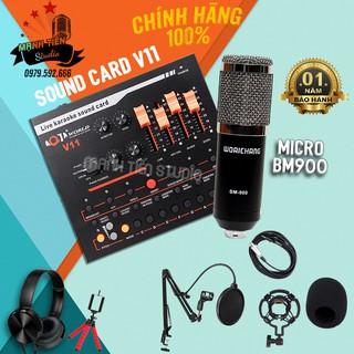 Combo micro BM900 + Sound card V11 giúp bạn thể hiện giọng hát siêu đỉnh của mình - karaoke, hát livestream, thu âm thumbnail