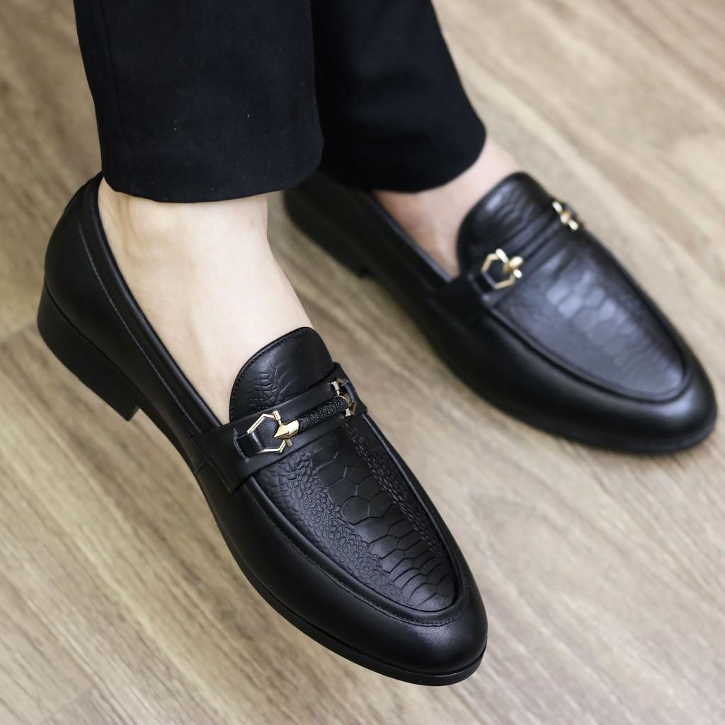 Giày Lười Da Nam Cao Cấp – Chất Liệu Da Mềm 100% – Đế Cao Su Đúc Khâu Chắc – Mã G004 Màu Đen