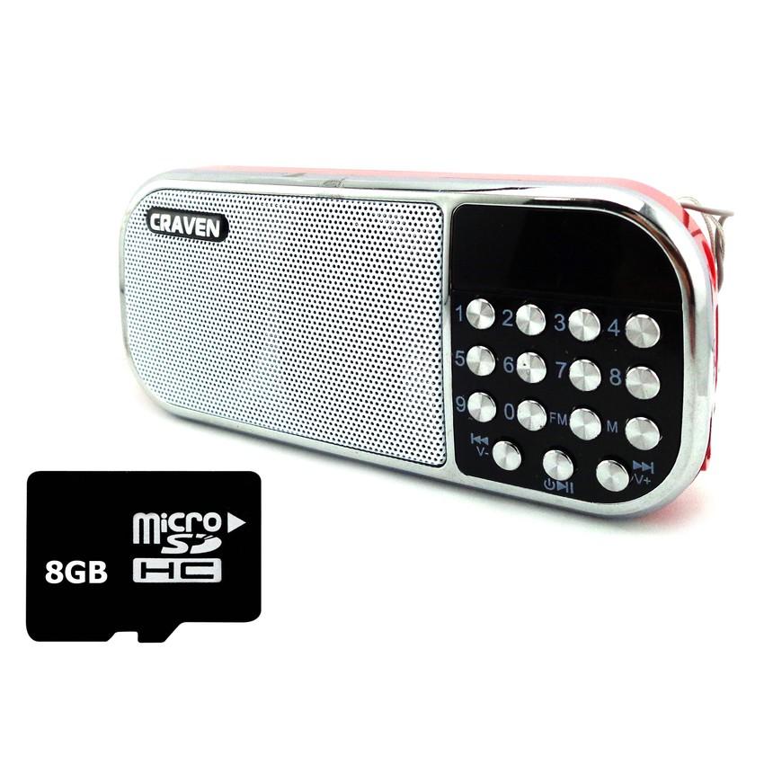 Bộ Loa nghe nhạc USB Craven CR-22 (Đỏ) và Thẻ nhớ 8GB