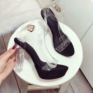 🎈XÃ KHO🎈Giày sandal cao gót 12 cm, gót trong suốt quai quai ngang