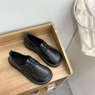 [CÓ SẴN] Giày nữ oxford anh quốc đế cao to bự dày răng cưa da bóng trơn mũi vuông tăng chiều cao thời trang Hàn quốc thumbnail