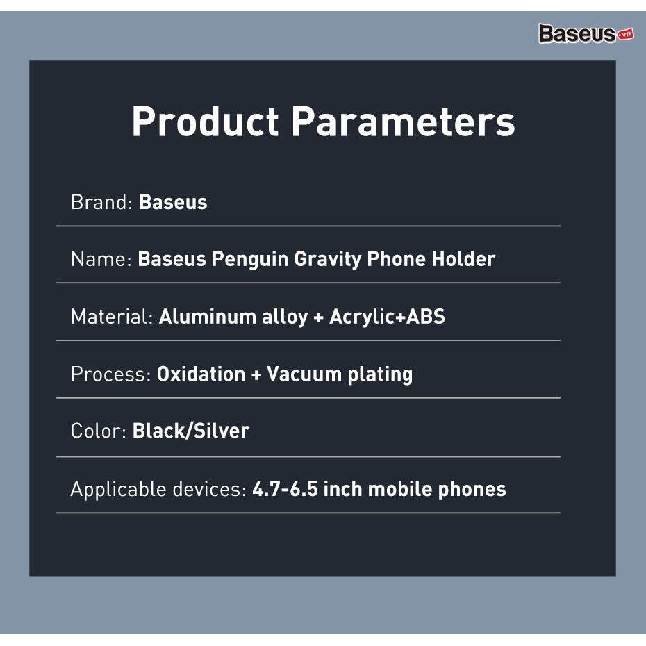 Đế giữ điện thoại trên xe hơi siêu nhỏ gọn Baseus Penguin Gravity Phone Holder
