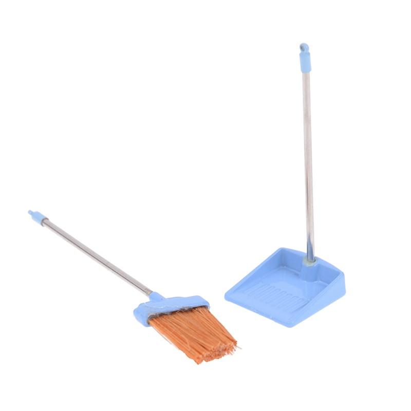1:12 Dollhouse metal long handles broom and dust pan set