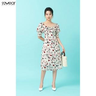Đầm váy nữ dự tiệc 92WEAR 2 màu, dáng dài cổ vuông nơ ngực DDW1069 thumbnail
