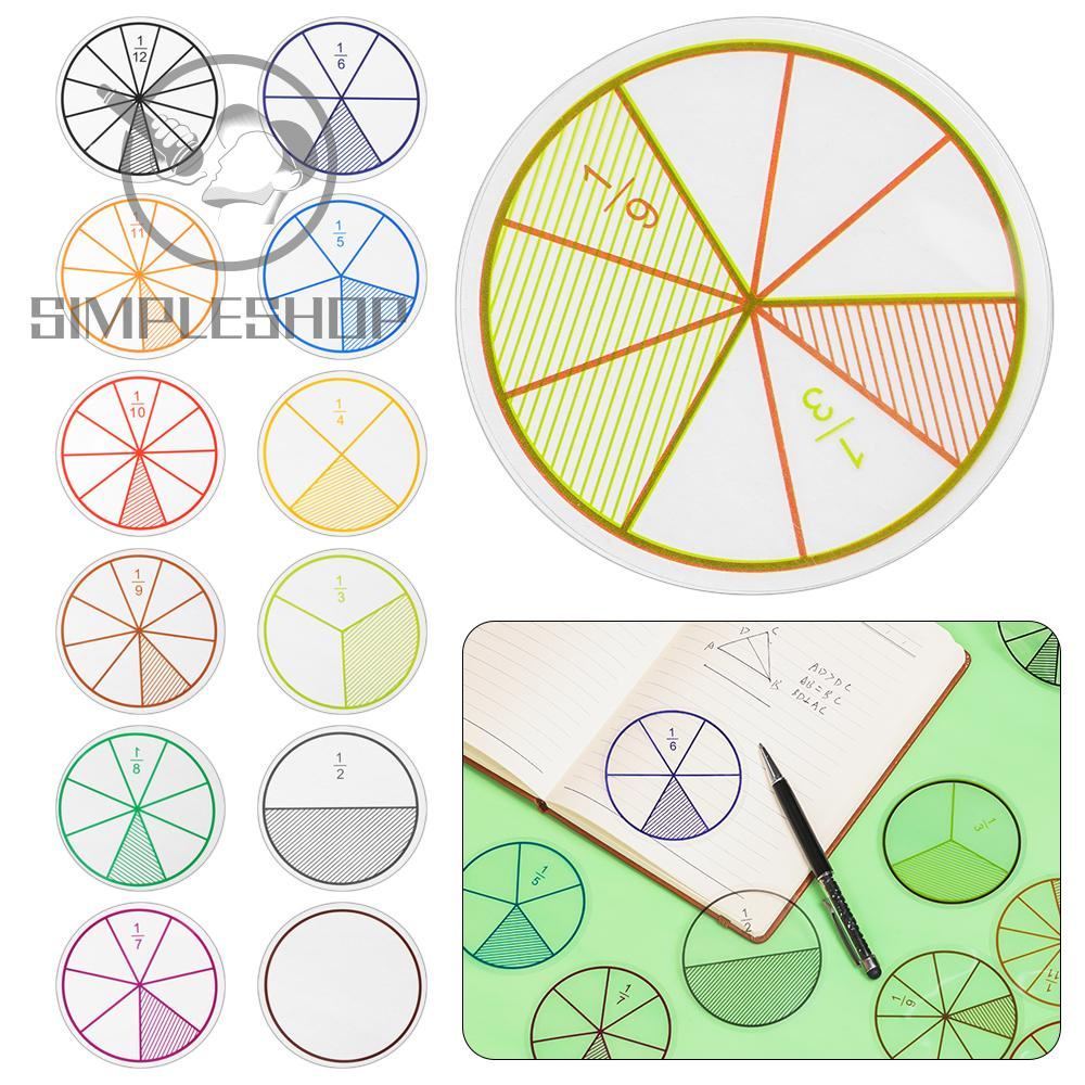 ❀SIMPLE❀ 12PCS Gifts Score Question Demonstrator Teaching Aids Student Teaching Tools Addition And Subtraction Instrument Montessori Round Plastic Learn Learning Tool Toy Fraction