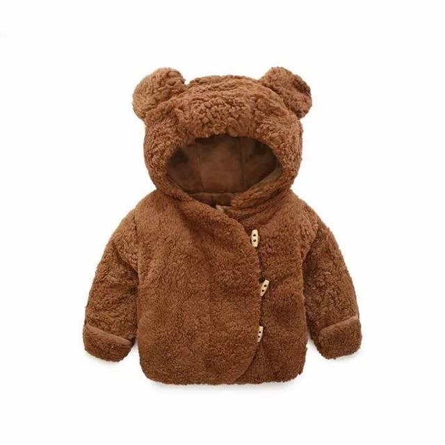 Áo khoác lông có mũ hình tai gấu cho bé trai bé gái
