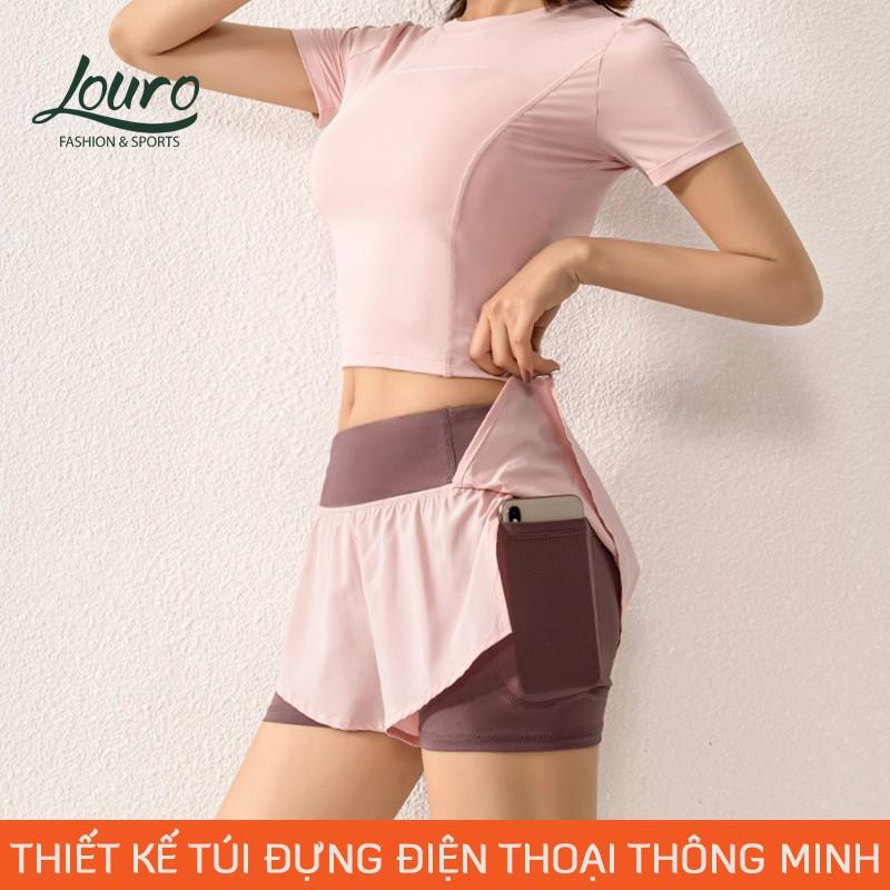 Mặc gì đẹp: Thoáng mát với Quần short nữ cạp cao 2 lớp Louro QL36, kiểu quần tập yoga, gym, zumba, thông thoáng, co giãn 4 chiều