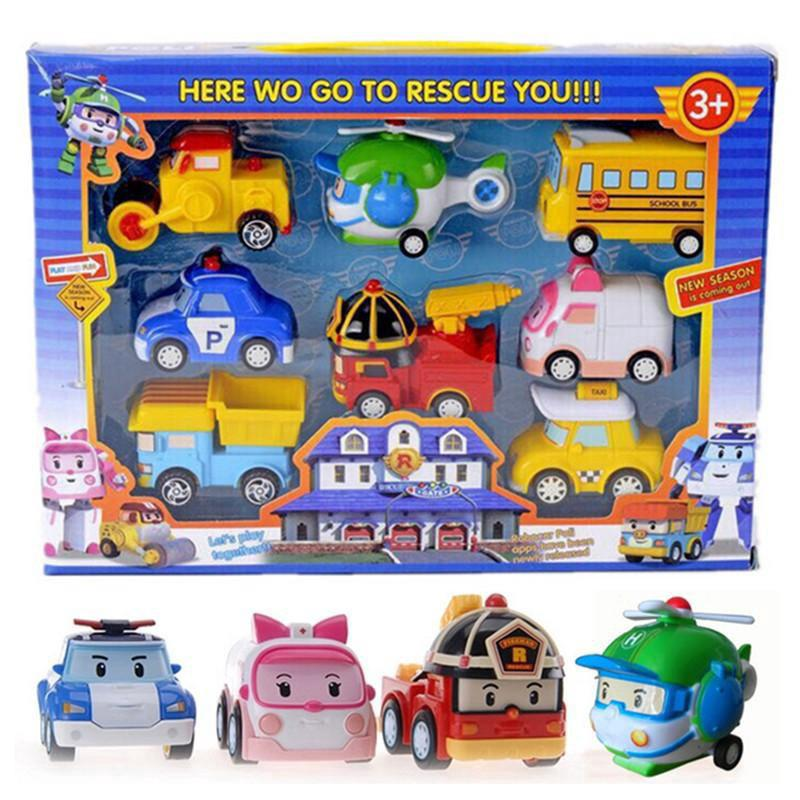 READY STOCK Robocar Poli P5 Pull Back Cars Vehicle Set (8 in 1)