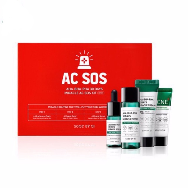 Set trị mụn AC SOS AHA-BHA-PHA 30Days Some By Mi Kit (4 món)