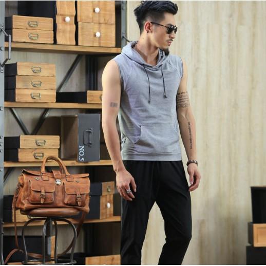 Áo hoodie sát nách năng động hộp thời trang hè cho nam size M-3XL
