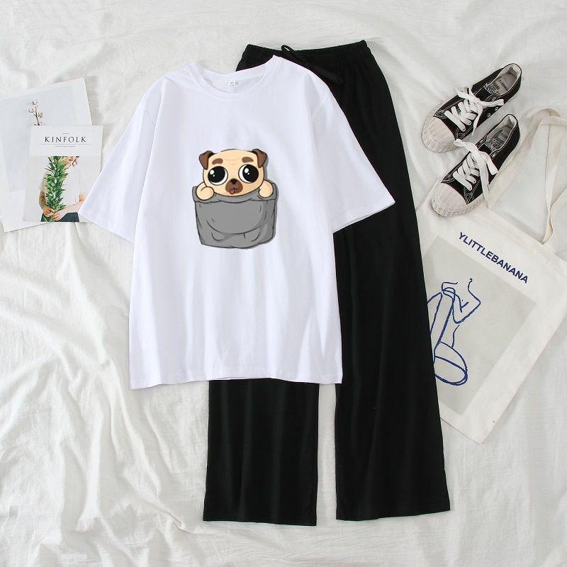 Mặc gì đẹp: Dáng chuẩn với Sét Bộ Đồ Nữ Mặc Đi Chơi, Dự Tiệc Mùa Hè, Áo Phông Cotton Mát Mịn In Baby Is Love Kèm Quần Thun Cát Phong Cách Hàn Quốc