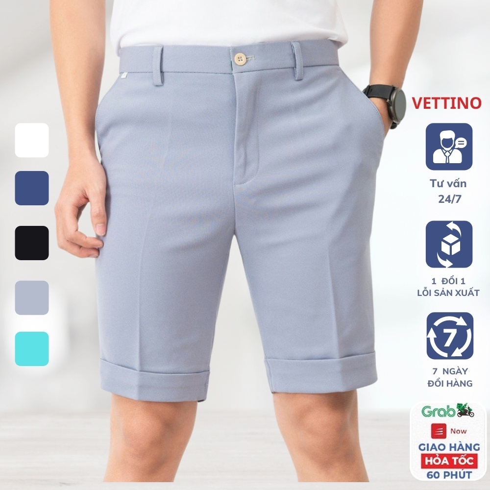 Mặc gì đẹp: Sang trọng với [Mã SKAMSALE10 giảm 10% đơn 200K] Quần short âu nam trơn Vettino dáng công sở, quần ngố tây âu nam vải chống nhăn xù